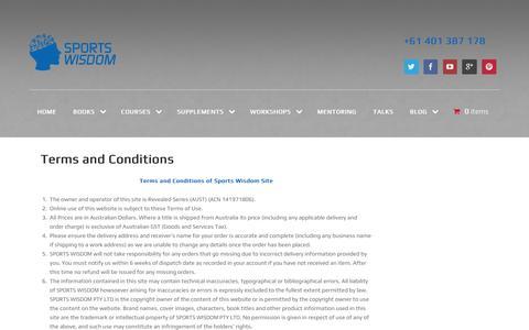 Screenshot of Terms Page sportswisdom.com.au - Terms and Conditions - - captured Dec. 4, 2015