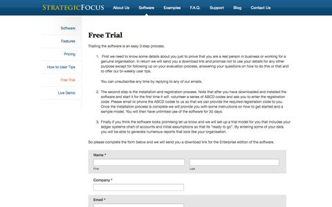 Screenshot of Trial Page strategicfocus.co.nz - Free Trial - - captured Oct. 7, 2014