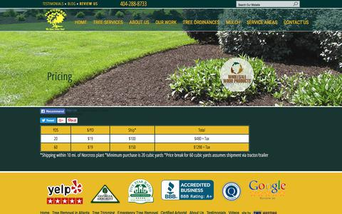 Screenshot of Pricing Page 404cuttree.com - Wholesale Mulch Pricing | 404-CUT-TREE - captured Nov. 7, 2017