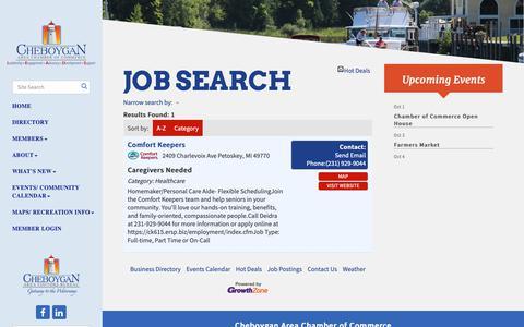Screenshot of Jobs Page cheboygan.com - Job Search - Cheboygan Area Chamber of Commerce, MI - captured Sept. 27, 2018