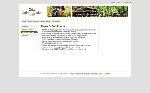 Screenshot of Terms Page carbonlarder.com - Carbon Larder Sustainable Living Guide | Terms & Conditions - captured Oct. 22, 2014