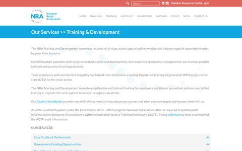 Screenshot of Case Studies Page nra.net.au - Training & Development - National Retail Association - captured Dec. 10, 2016