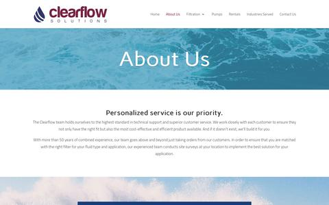 Screenshot of About Page clearflowsolutions.com - About Us - Filtration and Fluid Management - Clearflow - captured Sept. 28, 2018