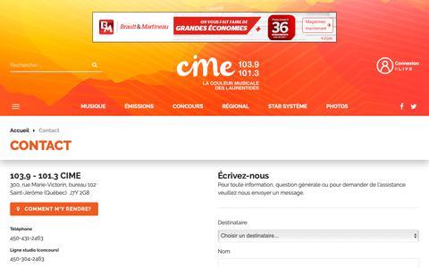 Screenshot of Contact Page cime.fm - Contact - CIME FM - captured Nov. 9, 2018