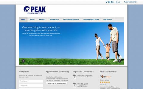 Screenshot of Home Page peakservices.net - Aptos, CA CPA firm offering Payroll Tax Accounting | Peak Accounting Services, Inc. - captured Sept. 27, 2018