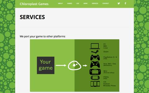 Screenshot of Services Page chloroplastgames.com - Services - captured Dec. 8, 2015