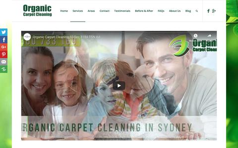 Screenshot of Services Page organiccarpetcleaning.com.au - Organic Cleaning Service | Organic Carpet Cleaning - captured Oct. 29, 2018