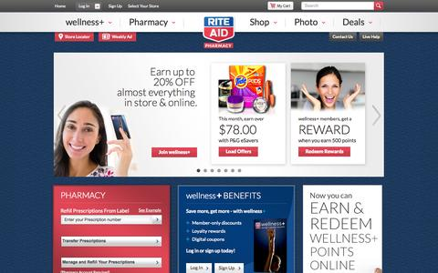 Screenshot of Home Page riteaid.com - Rite Aid Pharmacy - With Us, It's Personal - captured Oct. 10, 2014