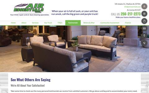 Screenshot of Testimonials Page airessentials.com - Air Ducts-Madison, AL-Air Essentials Inc. - captured Oct. 3, 2018