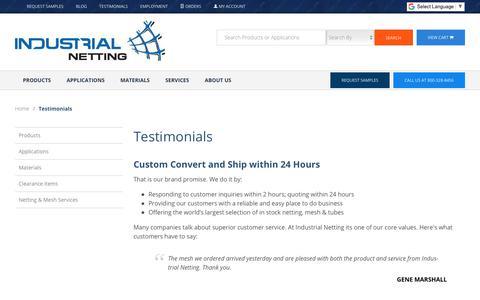Screenshot of Testimonials Page industrialnetting.com - Industrial Netting: Testimonials - captured Nov. 6, 2018