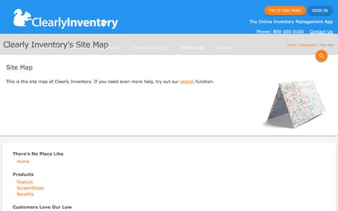 Screenshot of Site Map Page clearlyinventory.com - Site Map - Clearly Inventory - captured July 18, 2018