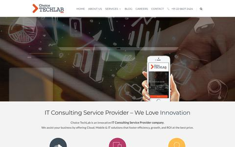 Screenshot of Home Page choicetechlab.com - IT Consulting Services in India - Get Best IT Solutions for Business - captured Aug. 14, 2019