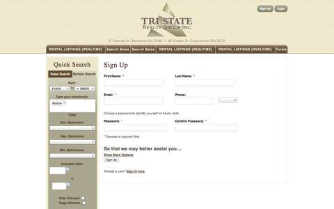 Screenshot of Signup Page tristaterealtygroup.com - Sign Up - captured Oct. 7, 2014