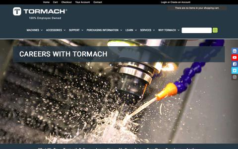 Screenshot of Jobs Page tormach.com - Careers - Tormach Inc. - captured Sept. 21, 2018