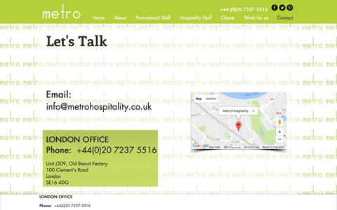 Screenshot of Contact Page metrohospitality.co.uk - Promotional Staff Agency London | Event Staff London - captured June 10, 2017