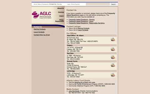 Screenshot of Contact Page aglc.ca - AGLC - Contact Us - captured Sept. 19, 2014