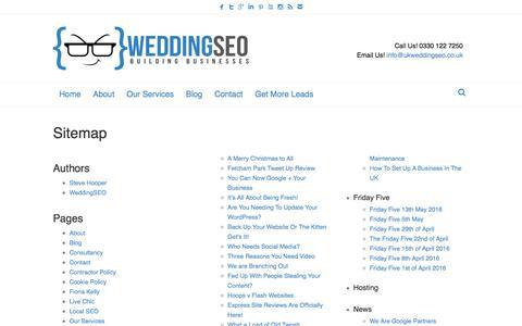 Screenshot of Site Map Page ukweddingseo.co.uk - Sitemap - UK Wedding SEO - captured July 26, 2018