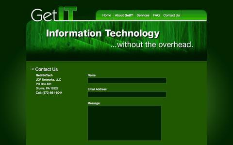 Screenshot of Contact Page getinfotech.net - Contact GetInfoTech - captured Sept. 29, 2014