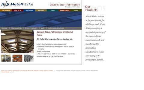 Screenshot of Products Page mtlwks.com - Metal Works | Our Products, Metal Works is an L.A. Certified shop, welding inspectors on staff, qualified fitters ensure product integrity - captured Oct. 27, 2014