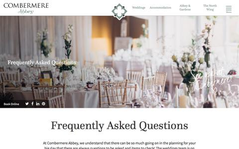 Screenshot of FAQ Page combermereabbey.co.uk - Frequently Asked Questions - Weddings at Combermere Abbey - captured July 15, 2016