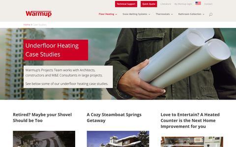 Screenshot of Case Studies Page warmup.com - Case Studies | Warmup Radiant Floor Heating | Warmup - captured Oct. 18, 2018