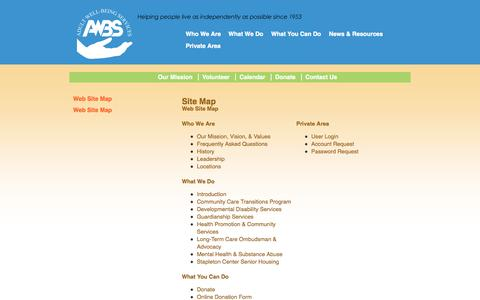 Screenshot of Site Map Page awbs.org - Adult Well-Being Services : Site Map : Web Site Map - captured Oct. 4, 2014