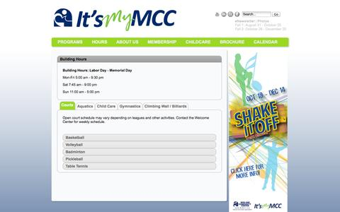 Screenshot of Hours Page mymcc.org - Hours - captured Oct. 27, 2014