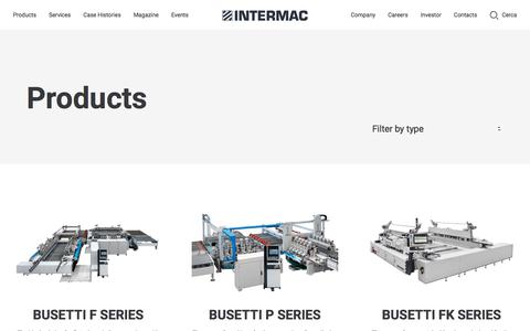 Screenshot of Products Page intermac.com - Products - glassworking Machinery - Intermac - captured March 11, 2018