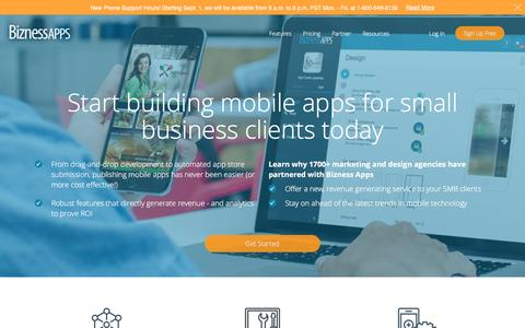 Screenshot of Landing Page biznessapps.com - Mobile App Reseller Information - Bizness Apps - captured Sept. 6, 2016