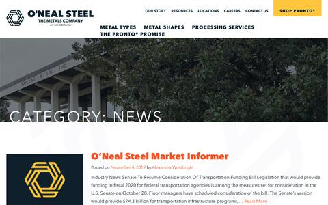 Screenshot of Press Page onealsteel.com - News Archives - O'Neal Steel - captured Dec. 6, 2019