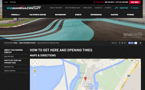 Screenshot of Maps & Directions Page yasmarinacircuit.com - Yas Marina Opening Hours And Location - Yas Marina - captured Sept. 19, 2014