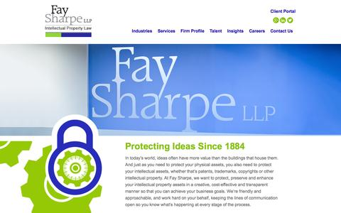 Screenshot of Home Page faysharpe.com - Intellectual Property Law Firm / IP Law - Fay Sharpe - captured Jan. 28, 2015