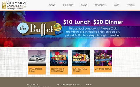 Screenshot of Home Page valleyviewcasino.com - Valley View Casino, San Diego Casinos - Valley View Casino Hotel Official Site - captured Jan. 26, 2016