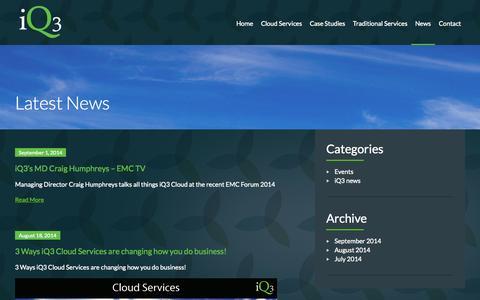 Screenshot of Blog Press Page iq3.com.au - Latest News - iQ3 - captured Oct. 27, 2014