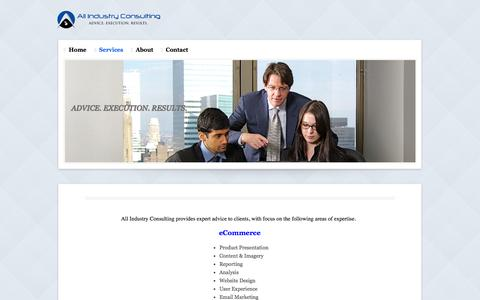 Screenshot of Services Page allindustryconsulting.com - Services - All Industry Consulting - Advice. Execution. Results. - captured Sept. 30, 2014
