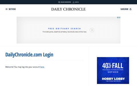 Screenshot of Login Page daily-chronicle.com - DailyChronicle.com Login | Daily Chronicle - captured Oct. 30, 2017