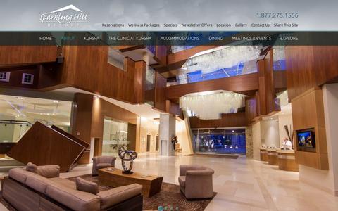 Screenshot of About Page sparklinghill.com - Destination Spa Resort | Sparkling Hill Resort - captured Sept. 19, 2014