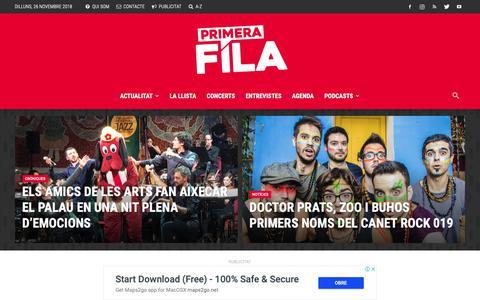 Screenshot of Home Page primerafila.cat - Primera Fila - El portal d'actualitat musical en català - captured Nov. 25, 2018