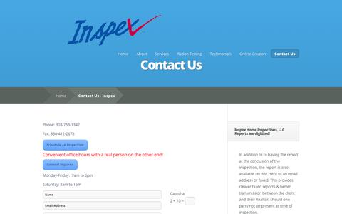Screenshot of Contact Page inspexhomeinspections.com - Contact Us - Inspex - captured Sept. 30, 2014
