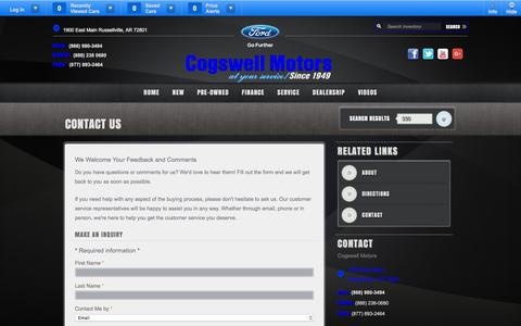 Screenshot of Contact Page cogswellmotors.com - Cogswell Motors | New Ford, Mazda, Lincoln dealership in Russellville, AR 72801 - captured Jan. 29, 2016