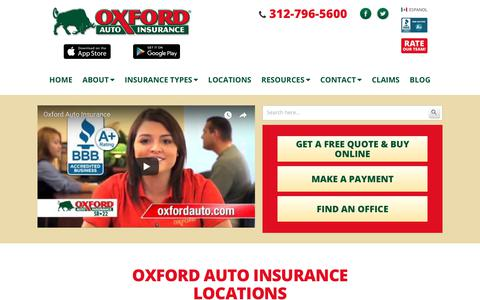 Screenshot of Locations Page oxfordauto.com - Oxford Auto Insurance Illinois Locations, Chicagoland Area - captured Oct. 22, 2017