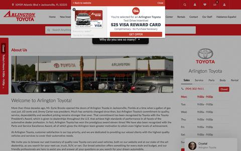 Screenshot of About Page arlingtontoyota.com - About Arlington Toyota Located in Jacksonville FL - captured July 30, 2018