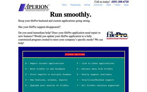 Screenshot of Home Page fileproplus.com - FilePro Support - Aperion Information Technologies, Inc.Aperion Information Technologies, Inc. | FilePro Support - captured Oct. 21, 2018