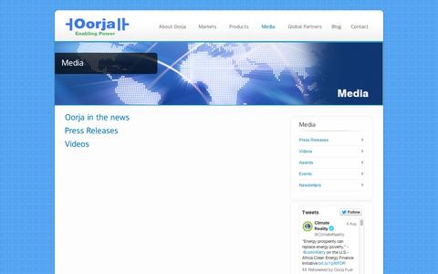 Screenshot of Press Page oorjafuelcells.com - Media - Oorja Fuel Cells - captured Sept. 12, 2014