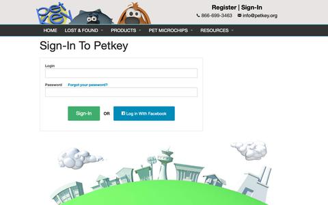 Screenshot of Login Page petkey.org - Sign-In to petkey™ - captured Sept. 27, 2018