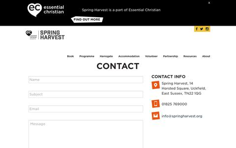 Screenshot of Contact Page springharvest.org - Contact Spring HarvestSpring Harvest - captured Sept. 21, 2018