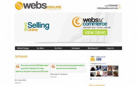 Screenshot of Testimonials Page webs.com.mt - Testimonials   WEBS.COM.MT   e-Commerce & Web Design Malta - captured Oct. 26, 2014