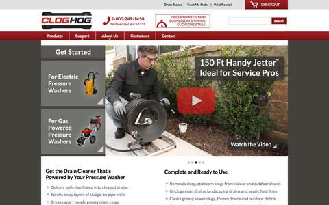 Screenshot of Home Page cloghog.com - Clog Hog - Sewer Jetters - Drain Cleaners for Pressure Washers - captured July 19, 2018