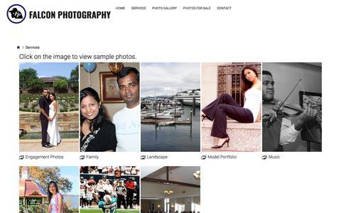 Screenshot of Services Page smugmug.com - Services - Falcon Photography - captured Oct. 13, 2017