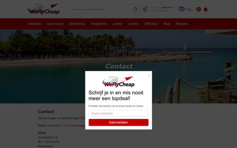 Screenshot of Contact Page weflycheap.nl - Contact - WeFlyCheap.nl - captured June 12, 2017